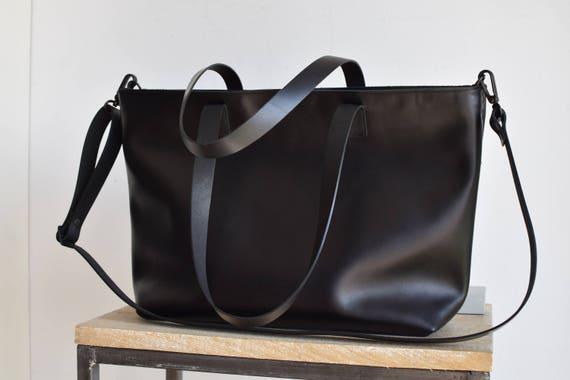 schwarz leder tasche mit rei verschluss und innenfutter etsy. Black Bedroom Furniture Sets. Home Design Ideas