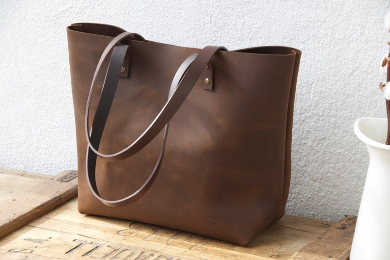 d644b15fd6 Large Brown Leather tote bag. Sturdy Premium waxed leather.