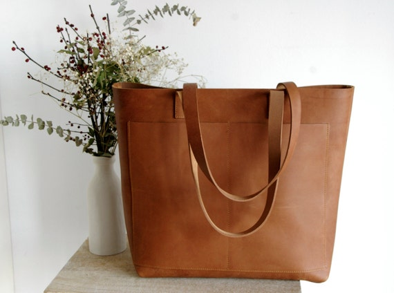 Oversized Camel Leather Tote Bag With Outside Pockets Cap Sa Etsy