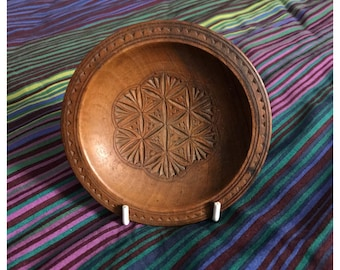 Vintage Small Wooden Carved Plate/Dish