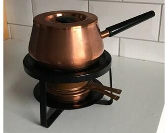 Vintage SIGG Switzerland Fondue Set, Copper-Inox 18/8.  EGRO Swiss Made Wax Burner & Cover