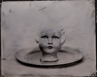 Head on a plate nr 1    wetplate  tintype