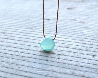 Chunky Compass Star Chalcedony Light Blue Gemstone /& Silver Necklace