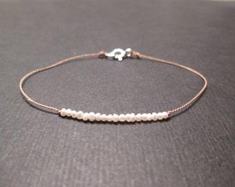 tiny FRESHWATER PEARL silk bracelet soulsilk bracelet, tiny pearl bracelet, June birthstone bracelet, minimalist beaded bracelet