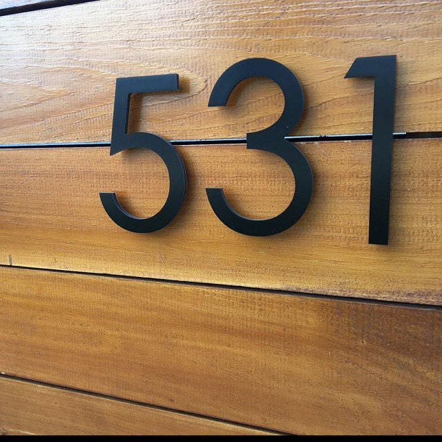 8'' Black Modern House Numbers Stud Mounted Address
