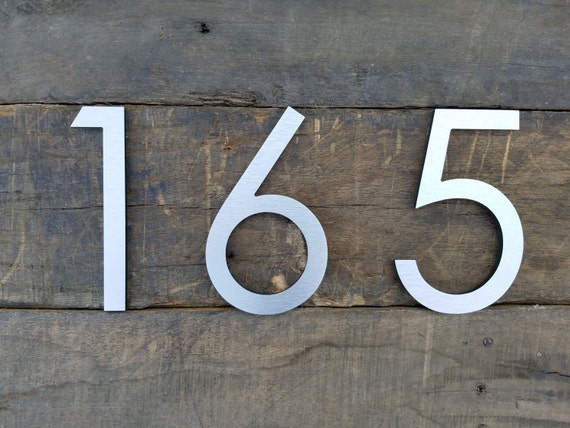 8 Modern House Numbers Brushed Aluminum Stud Mounted Etsy