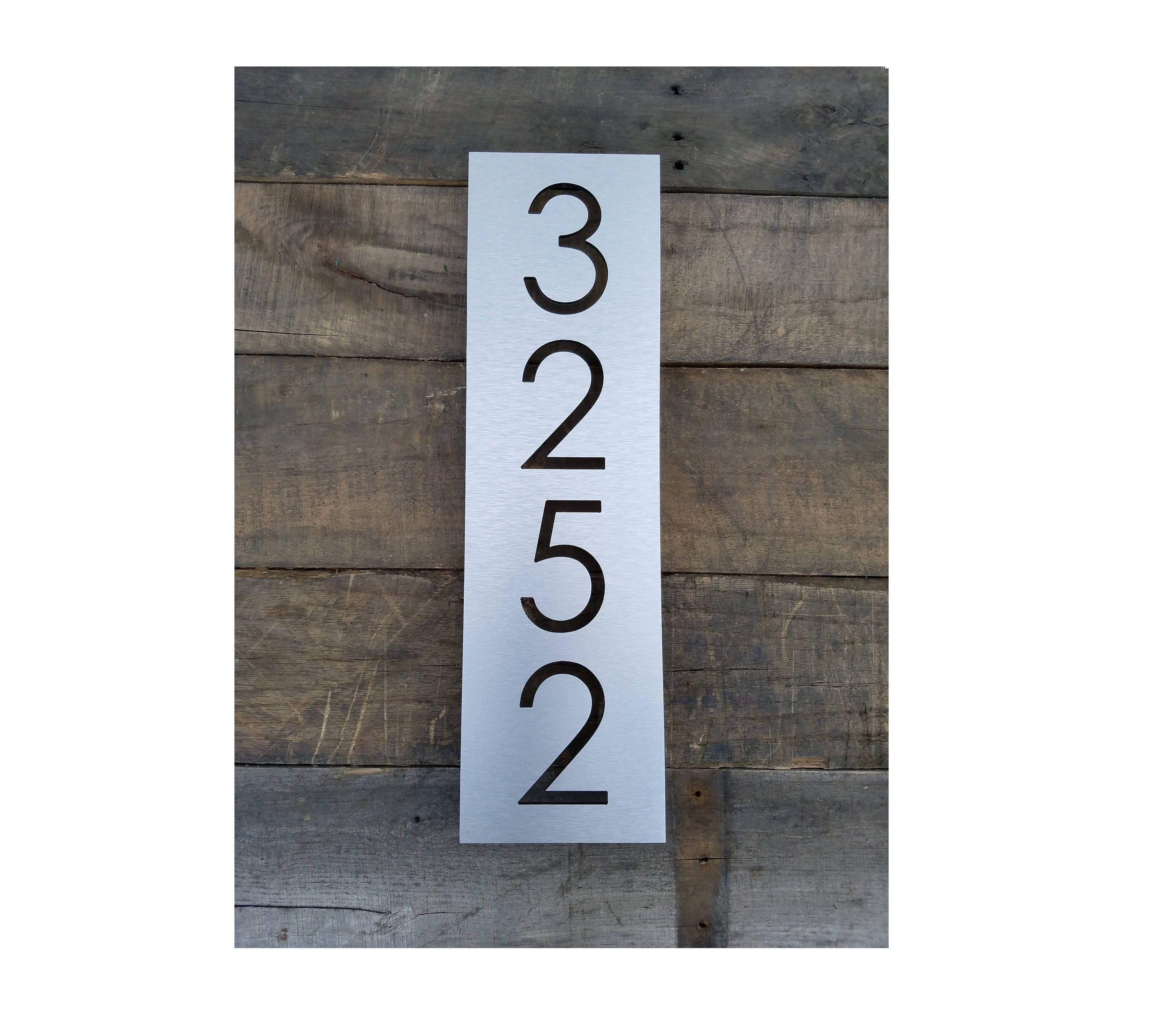 House Numbers Vertical Modern Address Plaque Brushed Metal ...