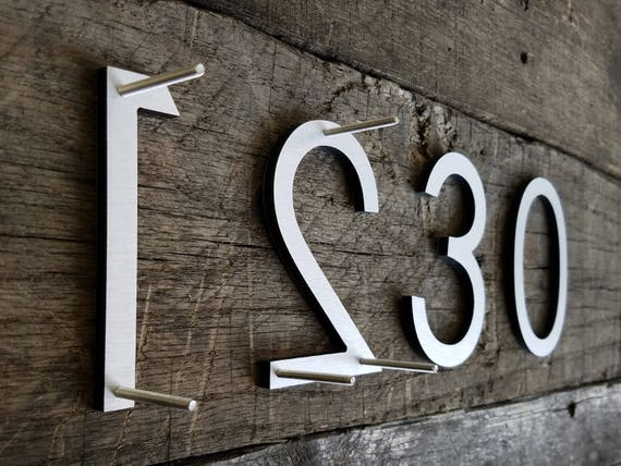 4 Modern House Numbers Letters Brushed Aluminum Stud Etsy