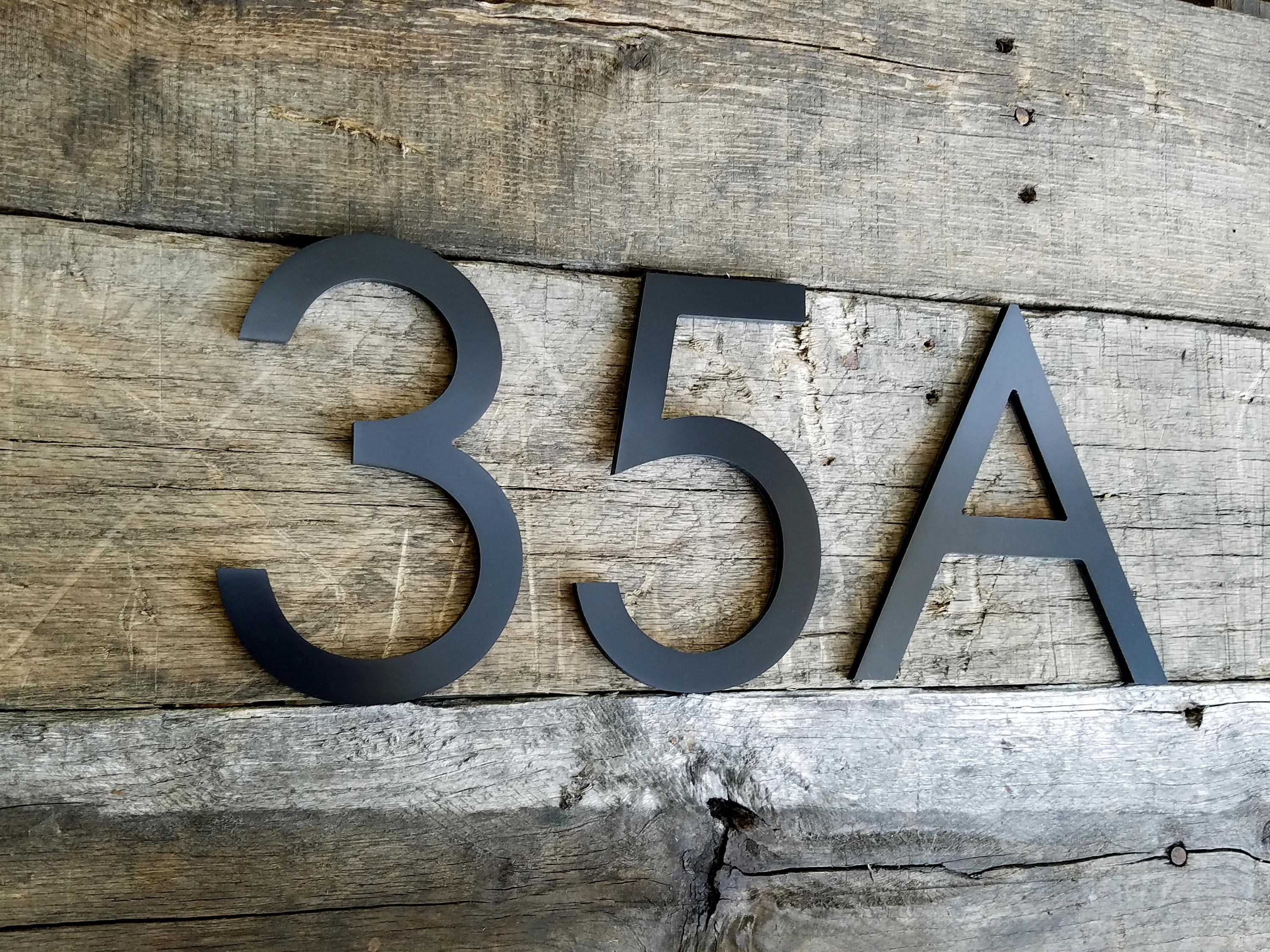 4 Black Modern House Numbers Stud Mounted Address Numbers Letters