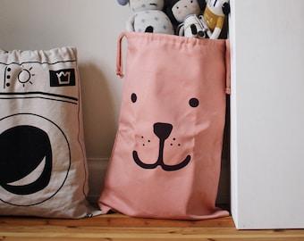Bear fabric bag pink storage of toys books or teddy bears - Kids interior
