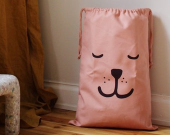 Sleeping bear fabric bag pink storage of toys books or teddy bears - Kids interior