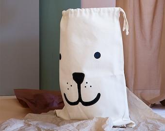 Bear fabric bag storage of toys books or teddy bears - Kids interior