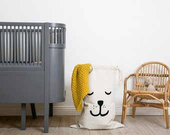 Sleeping bear fabric bag storage of toys books or teddy bears - Kids interior