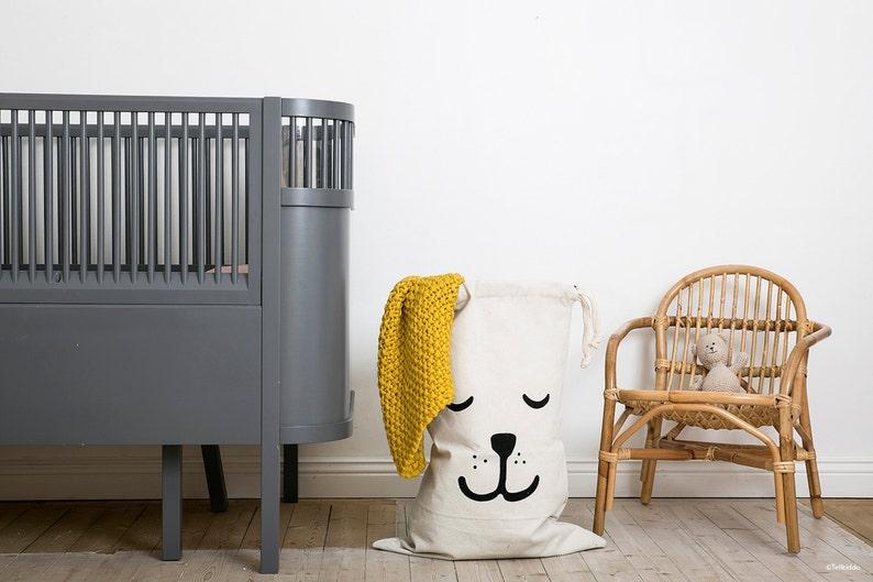 Sleeping bear fabric bag storage of toys books or teddy bears image 0