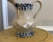 Vintage Salt Glaze Stoneware Pitcher Pottery with Cobalt Blue Design , Rustic flower vase, French country Decor