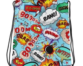 Pop Art Comic elements Drawstring bag - Pop Art Comic elements bag Gift for her