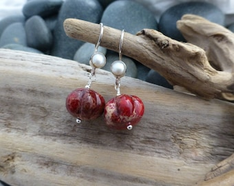 Inspiration Jasper and Pearl earrings
