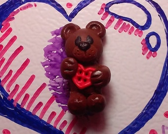 Cute Brown Bear, Holding Button Heart - With Magnet - Polymer Clay