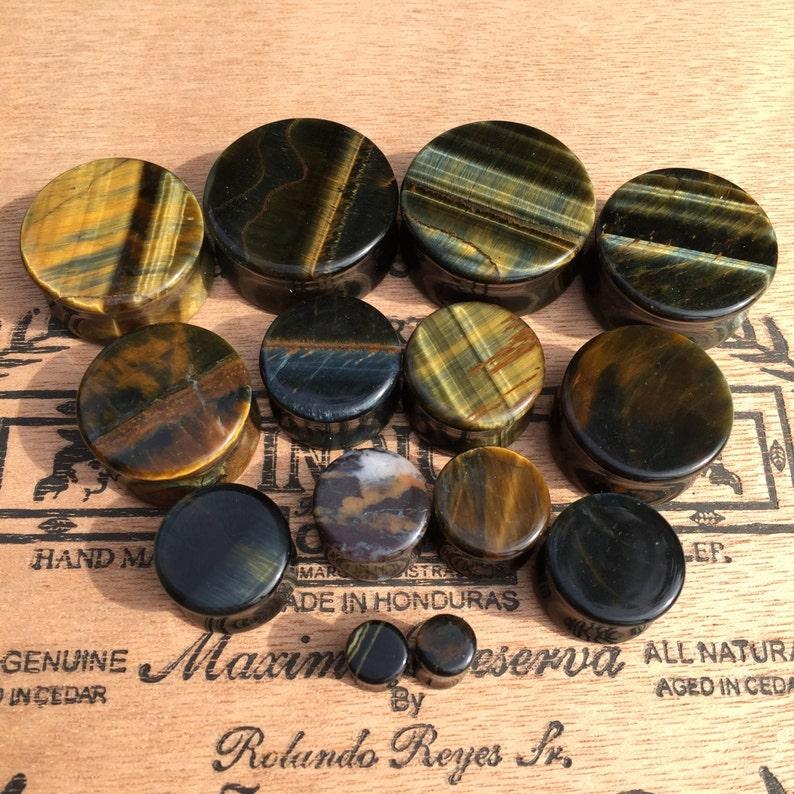 BIG Blue Tigers Eye Stone Plugs 916 58 34 78 One Inch 25mm