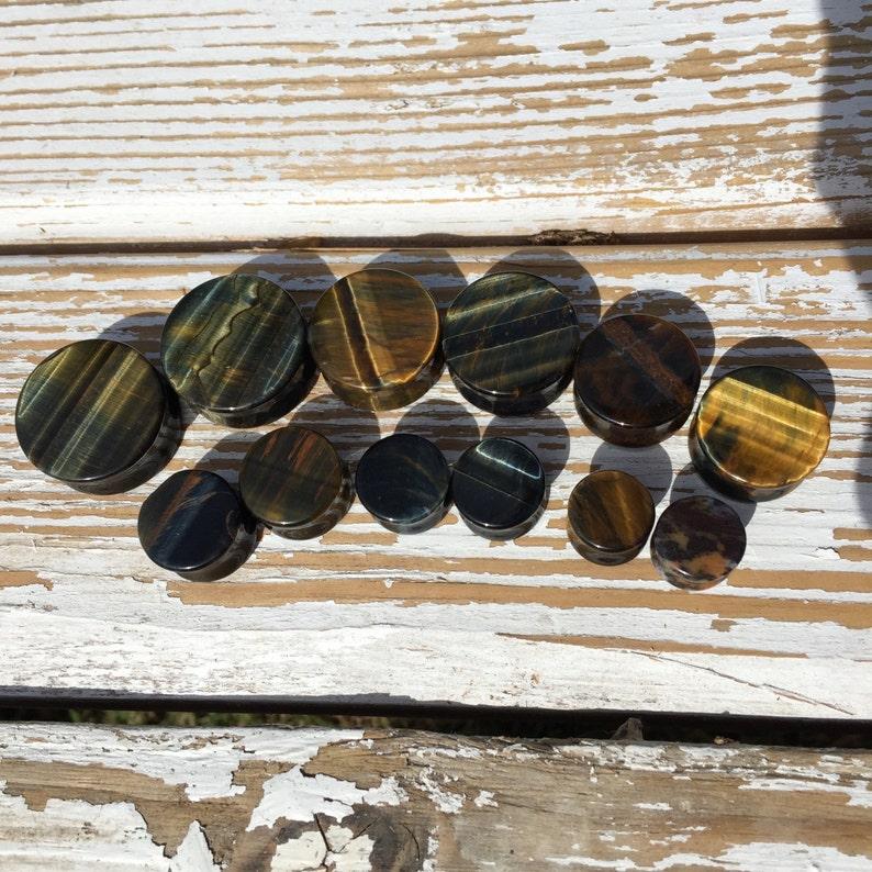 Blue Tigers Eye Stone Plugs 6g 4g 2g 0g 00g 716 12mm 11mm 12