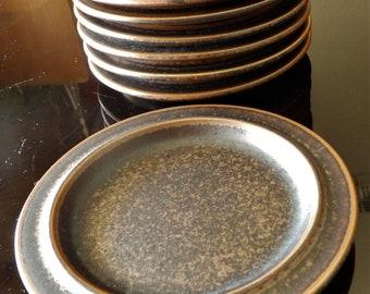 """Eight 1960s Ulla Procope """"Ruska"""" (Arabia Finland) Bread + Butter Plates--6-3/8"""" Diameter"""