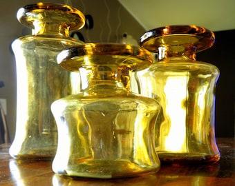 """Set of 3 Mid Century Dansk (France) Amber Vases/Candle Holders--Jens Quistgaard Design--Large = 6-1/4"""" H / Medium=5"""" H / Small=3-1/2"""" H"""
