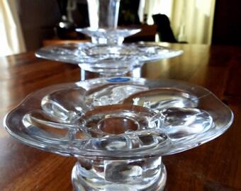 "Set of Four 1973 Nuutajärvi ""Lumme"" (Water Lily) Candle Holders & Vase--Kerttu Nurminen Design--Instant Collection--Mint"