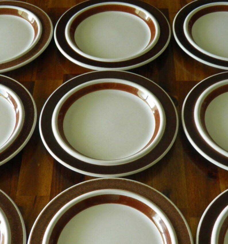 Arabia Finland Ulla Procope Anemone Pattern Rosemarin Plate--1970s--8 Diameter x 34 Deep--GREAT Condition Brown