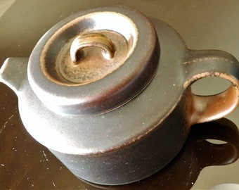"1960s Arabia Finland ""Ruska"" Teapot -- Ulla Procope Design -- 7-3/4"" Diameter x 5"" High"