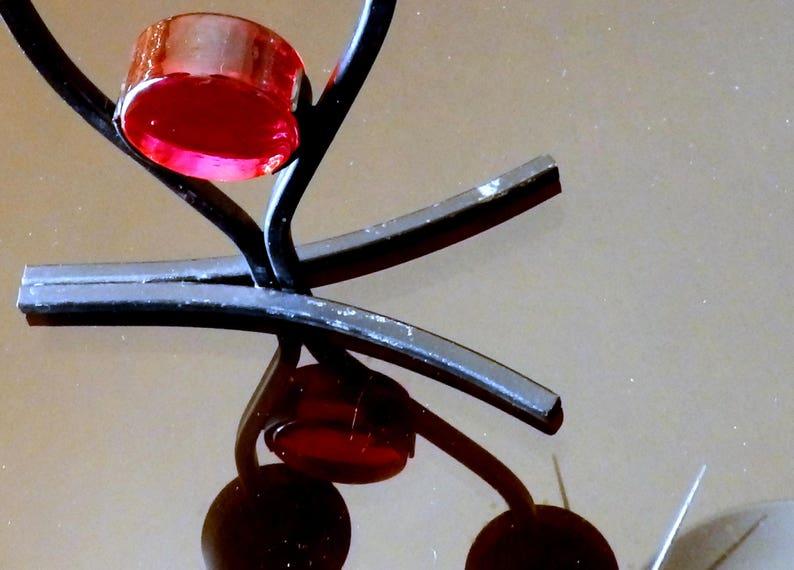 Black Metal and Red Glass Candelabra 9 High x 5-12 Wide x 2-78 Deep Vintage Bo Svensk Sweden Candelabra Gunnar Ander or Erik Hoglund