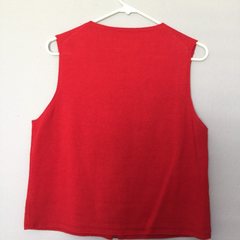 USA American Flag Red Knit Vest by Michael Simon Size Large Sleeveless Sweater