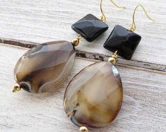 Agate earrings, dangle earrings, brown stone earrings, teardrop earrings, black onyx earrings, italian gemstone jewelry, modern jewelry