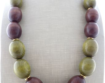 Brown and green wooden necklace, ethnic necklace, chunky necklace, agate necklace, exotic jewelry, modern jewelry, wedding jewelry, gioielli