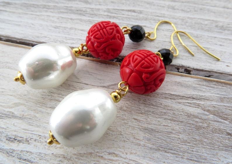 09ca8dc14 Baroque pearl earrings red cinnabar earrings black onyx   Etsy