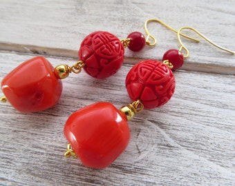 Red and orange coral earrings, chunky earrings, color block earrings, cinnabar earrings, drop earrings, exotic jewelry, fashion jewelry
