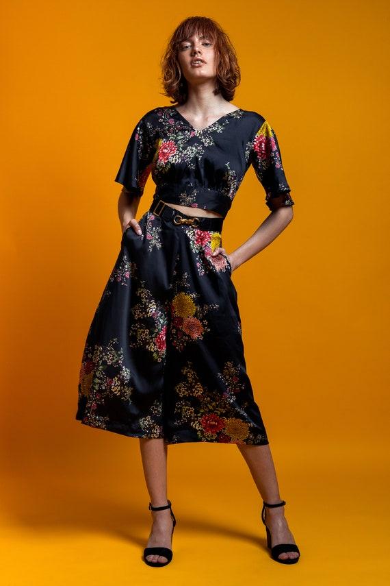 black satin kimono black wear japanese kimono flowers blouse top top print Open top summer floral top top chic back satin nHX8Y