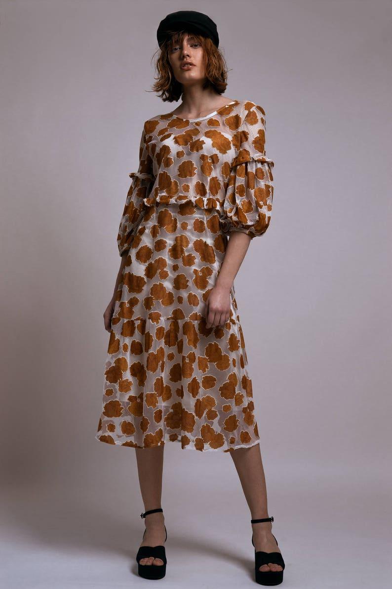 c73838e498 Floral Tulle Midi Dress semi sheer dress midi summer dress