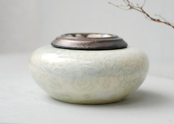 Unique Crystallization Pattern Ceramics Memorial Ashes Box-Remembrance Cremation Urn for your Lovely Cat//Pet Small Size