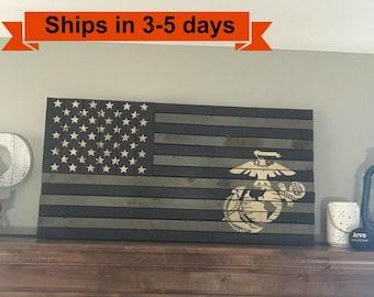 "36""x 19"" Marine Corps Rustic Flag"