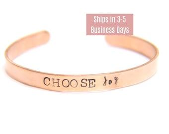 """Personalized Hand Stamped Copper Cuff Bracelets, Customized Rose Gold Cuff, Skinny 1/4"""" Cuff Bracelets"""
