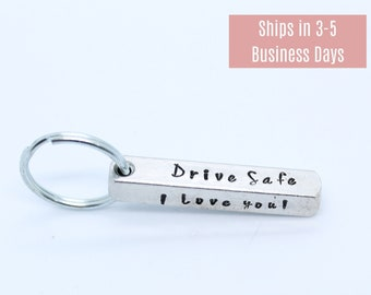 Personalized hand stamped Keychain, Custom hand stamped Keychain, Customized Keychain, Keychain for Men, Father's day Keychain, Drive safe