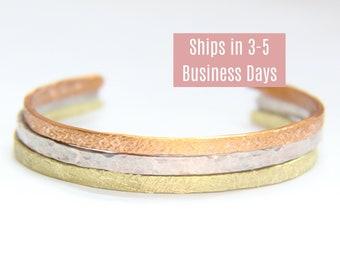 "Textured skinny cuff bracelets, Mixed metal bracelets, Skinny 1/8"" tricolored bracelets, Aluminum, Copper and, Brass bracelets"
