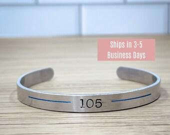 Personalized Thin Blue line Bracelet - Custom Badge Number Cuff - Police Officer bracelet