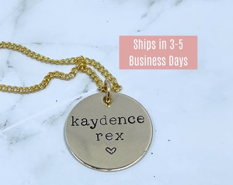 """Personalized 1"""" Circle Pendant necklace, Brass Customized necklace, Nu gold Hand Stamped Necklace"""