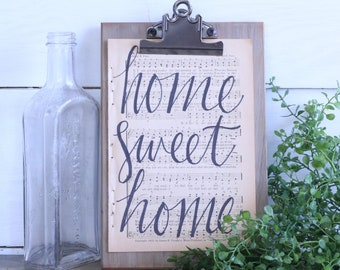 Hand Lettered Hymnal Page - Home Sweet Home