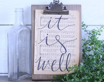 Hand Lettered Hymnal Page - It Is Well