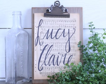Custom Baby Name Hand Lettered Hymnal Page