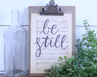 Hand Lettered Hymnal Page - Be Still