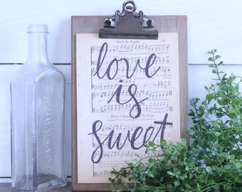 Hand Lettered Hymnal Page - Love Is Sweet