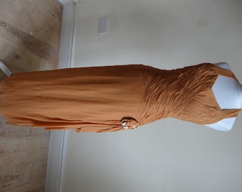 Vintage 1930s Dress - Butterscotch Chiffon Halterneck